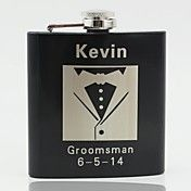 Personalized Black Stainless Steel 6-oz Flask... – USD $ 6.99