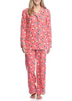 9042cab9ad Kim Rogers Coral Dog 2 Piece Coral Dog Flannel Pajama Set Flannel Pajamas