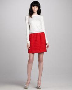 Cena Rhinestone-Stud Sweater & Weston Jacquard Skirt - Neiman Marcus