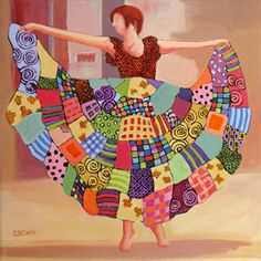 Daily Painting, Pretty, Witty and Bright, contemporary figure painting of a female dancer -- Carolee Clark Clark Art, Cool Art Projects, Motif Floral, Arte Pop, Naive Art, Artist Gallery, Ceramic Painting, Whimsical Art, Figure Painting
