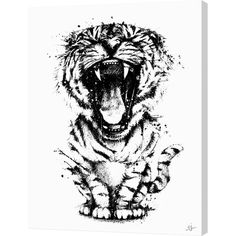 Let this playful canvas print anchor your gallery wall in fresh style. Its bold tiger cub design infuses any space with free-spirited appeal.