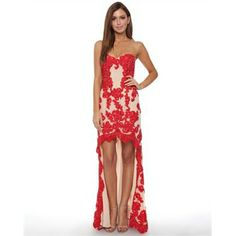 Grace & Hart Baroquian Gown in Red & Nude - Fashion Brand Sale