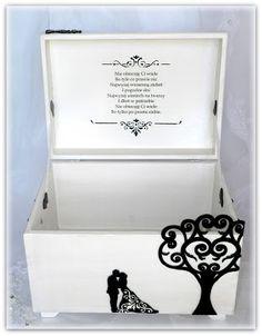 wedding box, hand made wedding box, black and white wedding box, wedding card box, memory box