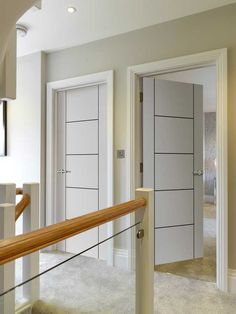 White Contemporary - Linea - Satin white pre-finished internal door with black coloured ladder style grooves