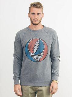 New Mens Junk Food Grateful Dead Steal Your Face Crewneck Fleece Sweatshirt #JunkFood #SweatshirtCrew