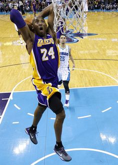 Los Angeles Lakers' Bryant goes to the basket during their NBA basketball game against New Orleans Hornets in New Orleans