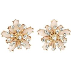 Pink Embellished Flower Earrings ($8.66) ❤ liked on Polyvore featuring jewelry, earrings, floral earrings, pink jewelry, blossom jewelry, pink earrings and studded jewelry