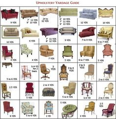 Here you can calculate how much fabric yardage you need to reupholster your furniture with our convenient upholstery yardage guide from Surrey Upholstery. Furniture Projects, Furniture Makeover, Diy Furniture, Diy Projects, Coaster Furniture, Furniture Stores, Furniture Outlet, Office Furniture, Salon Furniture