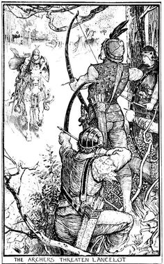 Henry Justice Ford The Archers Threaten Lancelot The Book of Romance - 1902