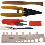 Basket Weaving Tool Set with reed packer, reed cutter, reed snips, awl, and reed gauge. from BasketWeaving.com