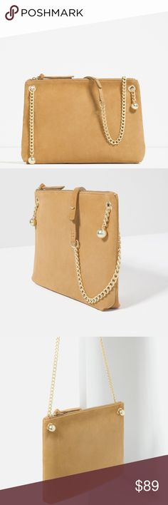 """ZARA 100% Suede Leather Clutch/Shoulder Bag Brand new with tags and dust bag. 100% Cow Leather.  Sand colored. Gold-toned hardware detail. Contrasting chain and leather shoulder strap. Lining with pocket. Zip closure. 10.6"""" x 14"""" x 1.1"""". Cheaper on Ⓜ️, just ask :) Zara Bags Crossbody Bags"""