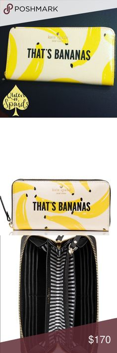 "Kate Spade That's Bananas Lacey Wallet There's a lot to love about the Lacey wallet - 12 card slots, 2 billfold compartments and one middle zip pocket, to be exact.  ♠️ 4""h x 7.6"" w x 0.8"" d.  ♠️ Tight weave poplin w/ lacquer w/ smooth faux leather trim. ♠️ 14-karat light gold plated hardware.  ♠️ Bootstrap printed on poly twill lining.  ♠️ Zip around continental wallet.  ♠️ Embossed with Kate Spade NY signature & light gold spade stud  CLOSET RULES ♠️ I do not trade ♠️ I do not conduct any…"