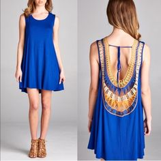 1 HR SALETENDERLY sleeveless jersey dress How beautiful is this back design! COLOR BLOCK CROCHET PATCH BACK WITH SPAGHETTI TIE SLEEVELESS SWINGY HEM SOLID JERSEY DRESS Fabric 96% RAYON 4% SPANDEX AVAILABLE IN BLACK AND ROYAL BLUE. NO TRADE, PRICE FIRM Bellanblue Dresses Mini