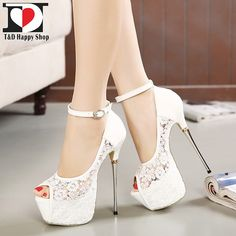 [Visit to Buy] women summer sandals lace pumps women party shoes platform pumps white wedding shoes stiletto heels open toe dress shoes Peep Toe Shoes, Platform High Heels, High Heels Stilettos, Women's Shoes Sandals, Stiletto Heels, Shoe Boots, White Heels, Sandals Outfit, Heeled Sandals