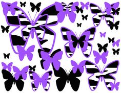 Zebra Butterfly Wallpaper Border wall art decals for teen girls bedroom ideas or baby abstract nursery decor. In four different color choices; hot pink, turquoise blue, purple, and rainbow #decampstudios