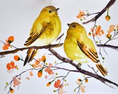 ORIGINAL Watercolor Bird Painting, Yellow Birds With Orange Flowers Inch Original watercolor painting on acid free paper. Handpainted, NOT a print. Size: CM / Approx: Inch Signed and dated on the front. Watercolor Animals, Abstract Watercolor, Watercolor Flowers, Watercolor Paintings, Simple Watercolor, Watercolor Landscape, Tattoo Watercolor, Watercolor Techniques, Watercolor Background