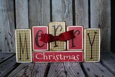 Merry Christmas  Primitive Wood Stacking Block Set gift home personalized seasonal home winer christmas decor stacking wood blocks. $28.95, via Etsy.