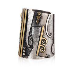 "Linda Ladurner bracelet 2012: ""Danseuses de Delphes"" argent, or fin. Cuff :silver, fine gold. One of a kind, as always! Galerie Didier Guedj, Paris."