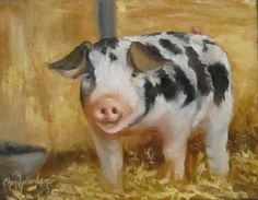 Pig Oil Painting Vindicator 8x10 Canvas Original by ChatterBoxArt