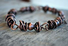 Wire Wrapped Mens Bracelet for Man Jewelry  Solid by letemendia, $35.00