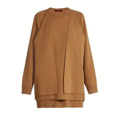 Sies Marjan Double-layer wool-blend sweater (3,600 CAD) ❤ liked on Polyvore featuring tops, sweaters, beige, slouchy tops, brown sweater, slouchy sweater, beige top and double layer top