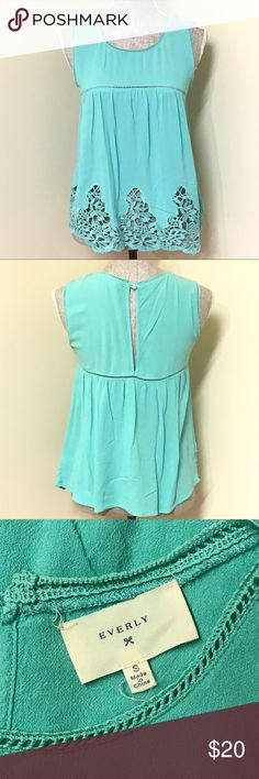 "Everly Mint Green Top Super cute mint green top by Everly with crochet Lace detail. Size Small and fits true to size. 16"" from underarm to underarm and 23"" from top of shoulder to bottom hem. Great pre-owned condition, no flaws! Everly Tops Tank Tops"