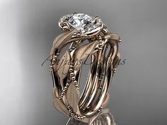 """14kt rose gold diamond leaf and vine wedding ring, engagement set with a """"Forever One"""" Moissanite center stone ADLR65S"""