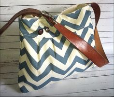 SHIPS TODAY Pleated Purse Blue Chevron Canvas by MitzisPretties, $69.00