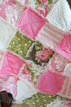 Baby Girl Rag Quilt Shabby Chic Pink Green Nursery by justluved