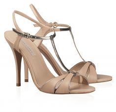 Pura Lopez AB184  - T-bar sandal with stiletto heel and metallic leather details.