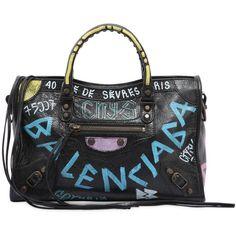 Balenciaga Women Small City Graffiti Leather Bag ($1,890) ❤ liked on Polyvore featuring bags, handbags, shoulder bags, black, shoulder strap bags, real leather purses, leather shoulder strap handbags, balenciaga handbags and embellished handbags
