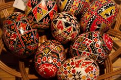 Romanian Easter eggs, traditional colors, but modern, intricate designs, from Bucovina