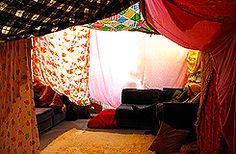 with a blanket fort