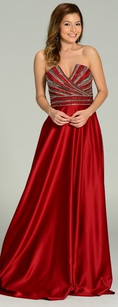 Strapless V Notch Neckline Satin Formal Gown Burgundy #discountdressshop…