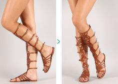 Breckelles Strappy Knee High Open Toe Gladiator Buckles Flat Sandals Padded
