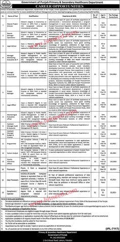 Primary & Secondary Healthcare Department Punjab, Contract Management Unit Jobs, May 2017 Last Date: 20-06-2017   #Assistant Manager #Data Processors #Deputy Project Director #Health Department Jobs #Manager #Officer #Programmer #System Analyst