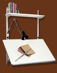 "The Rakks Cardan Work Surface can be mounted on Wall Standards or Pole Supports. It adjusts to any height and to any angle from horizontal to vertical. It can be used as a drafting board, display rack, projection screen or work surface. As a desk (in its full horizontal position) the Cardan Board can support evenly distributed loads up to 75 pounds. When stored in the vertical position, the Board protrudes just 1 5/8"" from the wall – saving valuable space."