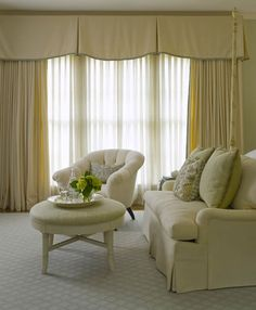 See more window coverings and window treatments for large windows in living room. Valance Window Treatments, Window Treatments Living Room, Custom Window Treatments, Living Room Windows, Window Coverings, Window Cornices, Drapery Styles, Drapery Ideas, Contemporary Window Treatments
