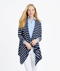 M /& S White Collection Ladies fine knit longline waterfall cardigan