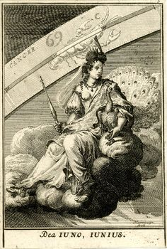 The Roman goddess Juno on a cloud at centre, holding a peacock and a sceptre; the zodiacal sign of Cancer beyond. 1698 Engraving © The Trustees of the British Museum Juno Goddess, Bible Tattoos, Alchemy Art, Tarot, Esoteric Art, Occult Art, Scratchboard, Greek Art, Gods And Goddesses