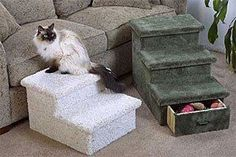 2 or 3 Level cat Step with Optional Drawer : Color SPECKLED SAND : Size 2 STEP - WITH DRAWER *** Unbelievable cat item right here! : Cat Doors, Steps, Nets and Perches