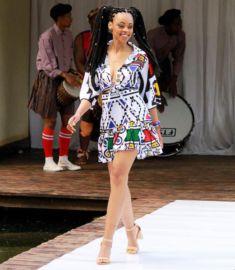 Mmathema Kgomo In Chic Ndebele Print Tie Crop Shirt and Short Flared Skirt Latest Nigerian Ankara Styles, Trendy Ankara Styles, Ankara Gown Styles, Ankara Gowns, African Inspired Fashion, African Print Fashion, Fashion Prints, Beautiful Ankara Styles, Traditional Wedding Attire