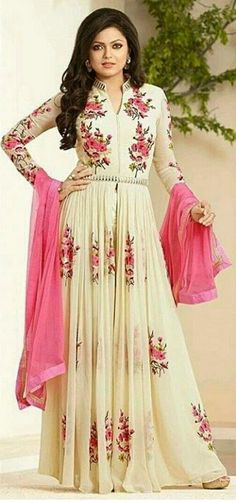 Dhrasti dhami white color folwer anarkali suit