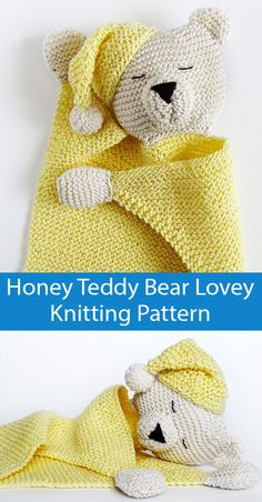 Knitting Pattern for Honey Teddy Bear Lovey Baby Blanket Knitting Pattern for Honey Teddy Bear Lovey Baby Blanket Sleepy bear comfort blanket is approx 44 cm 17 3 in tall from head to toe Knitted Baby Blankets, Baby Blanket Crochet, Crochet Security Blanket, Diy Blankets, Bear Blanket, Baby Security Blanket, Chunky Blanket, Crochet Afghans, Diy Crochet