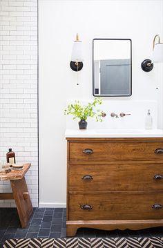 Bathroom Design - Wood Vanity and Subway Tiles -Lauren Liess.Love the colors and dresser vanity in this bathroom Rustic Bathroom Vanities, Modern Bathroom, Small Bathroom, Master Bathroom, Wood Bathroom, Tiny Bathrooms, Bathroom Vintage, White Bathrooms, Vintage Vanity