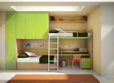 Furniture. Green Modern Shared Kids Room Design with Cool Bunk Beds with Wide and Tall Storage Closet and Cabinets plus Wall Mounted Shelving and Study Desk. Room Space Saving Ideas: Best Multifunctional Loft and Bunk Beds for Kids Bedroom