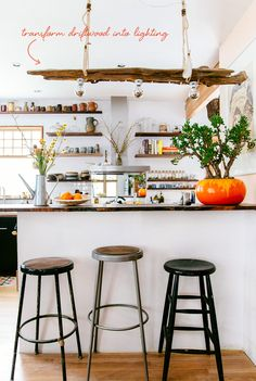 love the driftwood pendant in this kitchen! // the new bohemians by justina blakeney