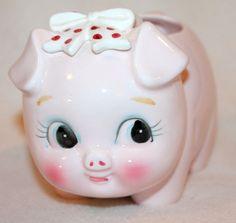Vintage Pig Piggy Ceramic Planter Rubens Originals Japan Hand Painted