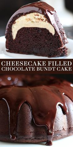 Who could beat this Cheesecake Filled Chocolate Bundt Cake with its rich yet tender and moist chocolate cake, surprise cheesecake filling, and thick fudgy glaze? Easy, from-scratch homemade recipe. Great for a Christmas dessert too! Easy Desserts, Delicious Desserts, Health Desserts, Cupcake Recipes, Dessert Recipes, Moist Cake Recipes, Cake Filling Recipes, Cake Recipes From Scratch, Chocolate Cake From Scratch