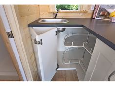 A lofted 160 square feet tiny house on wheels in Delta, British Columbia, Canada. Designed by Tiny Living Homes. Tiny House Storage, Small Tiny House, Tiny House Swoon, Tiny Houses For Sale, Tiny House Living, Tiny House Plans, Tiny House Design, Tiny House On Wheels, Little Cottages
